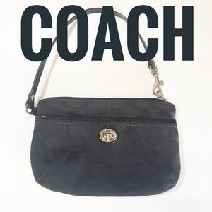 Coach Signature Jacquard large black wristlet